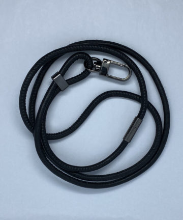 lanyard black leather