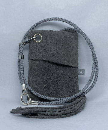 djac Grey Suede Leather Lanyard