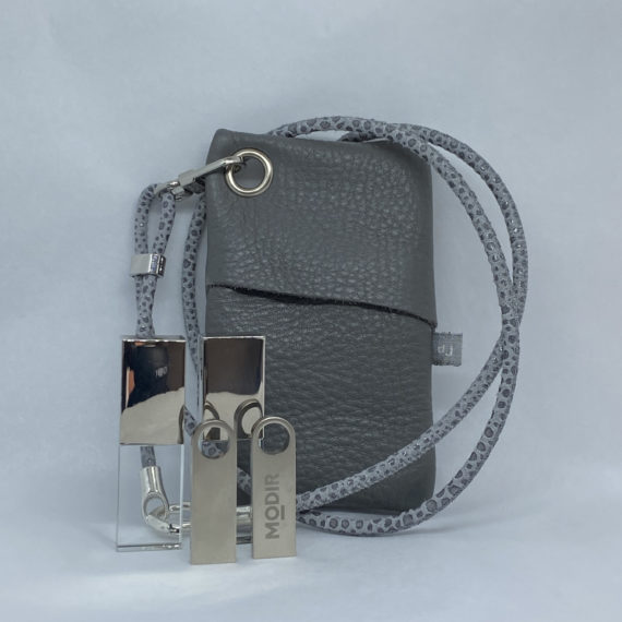 djac Grey Leather Lanyard.HEIC