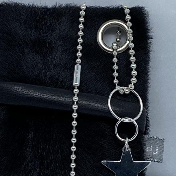 djac Black fur Leather Lanyard .HEIC