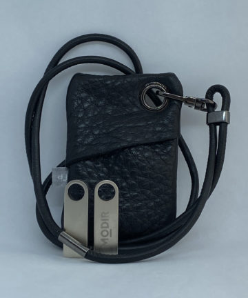 djac Black Hide Leather Lanyard