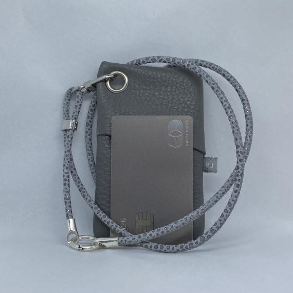 djac Grey Leather Lanyard