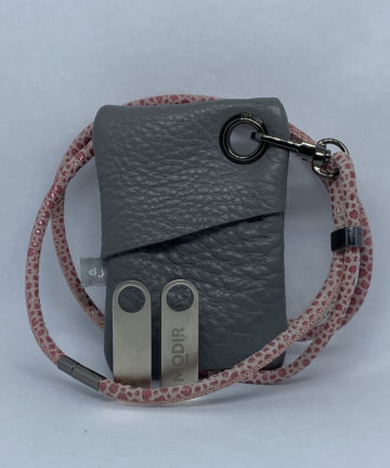 djac Grey Leather Lanyard